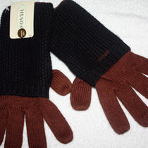 New Ladies Fossil Winter Gloves Knit Brown & Black Nwt Photo