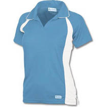 New Ladies Large Game Sportswear Game-Wick Polo Columbia Blue/white Polyester Photo