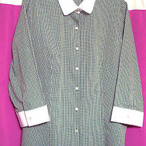 New  - Ladies Ls Green & White Blouse by Talbots Size L..  Nwt Photo