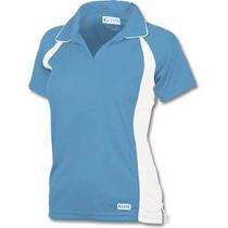 New Ladies Medium Game Sportswear Game-Wick Polo Columbia Blue/white Polyester Photo