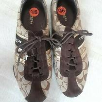 New Ladies Size 9.5 Coach Jacquard and Brown  Leather Suede Sneakers Photo
