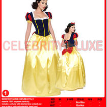 New Ladies Snow White Fairy Tale Long Fancy Dress Up Costume Cartoon Gown Skirt Photo
