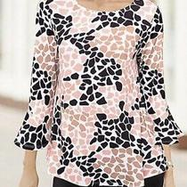 New Ladies Together Pretty Black & Blush Print Slinky Jersey Top Size 8 Photo