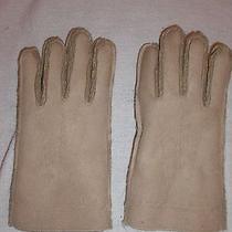 New Lands End Faux Suede Leather Shearling Gloves Beige  Size Small Photo