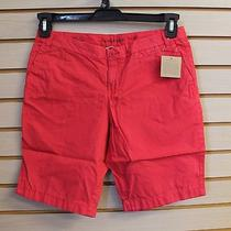 New Lands End Girls Size 10 Solid Cherry Pink / Red Bermuda Shorts High End Photo