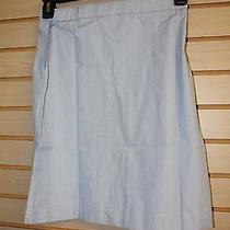 New Lands End Girls Size 12 Blue Pincord Aline Skirt Sits Below Knee High End Photo