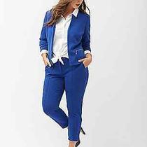 New Lane Bryant Blue Ponte Jacket Zipper Pocket Blazer Plus Size 14 Xl 1x Photo