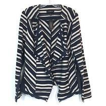 New Lane Bryant Flyaway Jacket Womens Sz 14 Striped Navy Blue Raw Hem Blazer Photo