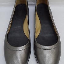 New Lanvin Pewter Leather Ballet Flats Shoes Italian Size 38.5 Photo