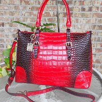 New Large 'Alc' Kate 100% Italian Leather Croc Tote W/ Strap Msr 275 -Red Photo
