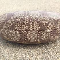 New Large Clamshell Coach Sunglasses Eye Glasses Case Monogram Legacy Brown Photo