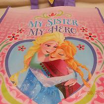New Large Disney Frozen Tote Shopping Bag  My Sister My Hero  Elsa Anna Heart  Photo