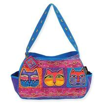 New Laurel Burch Cat Med Hobo Tote Bag Feline Faces Masks 5183 Nwt 2013 Photo