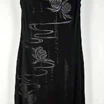 New Laurel by Escada Black Silver Sheer Floral Sleeveless Cocktail Dress 38 Photo