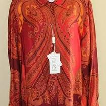 New Laurel Escada Wild Paisley Equestrian Wearable Art Silk Blouse Sz 44 14 Wow Photo
