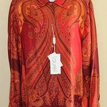 New Laurel Escada Wild Paisley Equestrian Wearable Art Silk Blouse Sz 44 14 Wow Photo