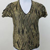 New Lauren Ralph Lauren Black & Gold Metallic Cold Shoulder Sweater Sz M  Nwt Photo