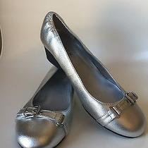 New Lauren Ralph Lauren Ilena Metallic Leather Wedge Loafer Flat Silver Size 8.5 Photo