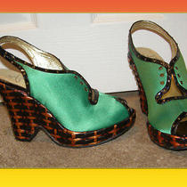 New Le Due by Due Farina Green Satin Laceup Wedge Heels Shoes Sz 8 Anthropologie Photo