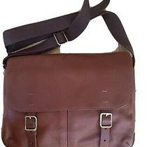 New Leather Fossil Defender Portfolio Brief Bag Messenger Laptop Cognac Photo