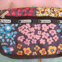 New Lesportsac Gray Floral Flower Cosmetic Small Bag Blue Pink Orange Purple Photo