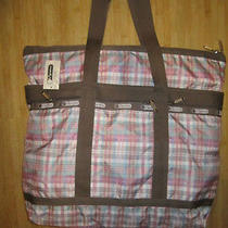 New Lesportsac Large Travel Tote Bag Handbag Purse Pink Plaid Photo