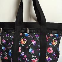 New Lesportsac Medium Travel Tote Bag Duffel Impressionist Flower 82 Photo