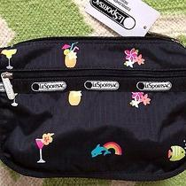 New Lesportsac Travel Cosmetic Bag Happy Hour Vacation Flamingo Dolphin Photo