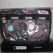 New Lesportsac Travel Cosmetic Pouch 6502 Graphite Gray Paisley Floral Flowers Photo
