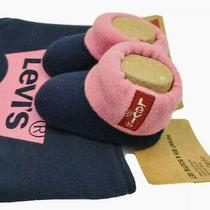 New Levi's Baby Girls Booties Shoes Bib Set Size 0-6 Month Pink Blue Gift Infant Photo