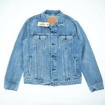 New Levis Trucker Jeans Jacket Mens Light  Blue Denim Bomber Size M Photo