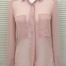 New Liberty Love Button Chiffon Sheer Blouse Top Xs Blush Pink Nordstrom Career  Photo
