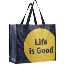New Life Is Good Recycled Shopper Tote - Darkest Blue Photo