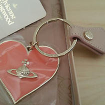 New Light Pink Vivienne Westwood Orb Heart Key Ring Holder Key Chain - Rare  Photo