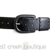 New Linea Pelle Anthropologie Black Stitched Leather Hip Handmade Western Belt M Photo