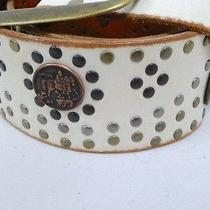 New Linea Pelle White Antique Leather Studded Coins Brass Wide Belt M Wide 2.5  Photo