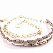 New Linea Pelle Womens S/m Braided Woven Belt Gold Taupe Interlocking 601kus1 Photo