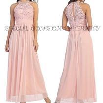 New Long Blush Chiffon Pearls Rhines Collar Maternity Dress Medium Bridal Gown Photo