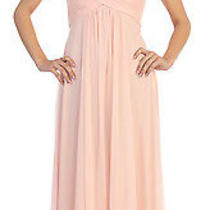 New Long Blush Lace Cutout Chiffon Maternity Dress Medium Bridesmaids Gown Nwt  Photo