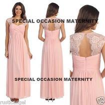 New Long Blush Pink Lace Cutout Back Maternity Dress Gown Chiffon Medium Special Photo