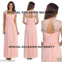 New Long Blush Pink Lace Cutout Back Maternity Dress Gown Chiffon Xl Special Nwt Photo