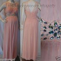 New Long Blush Sheer Jewels Maternity Dress Gown Chiffon Large Bridal Wedding Photo