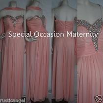 New Long Blush Strapless Jewel Chiffon Sweetheart Maternity Dress Gown Large Nwt Photo