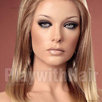 New Long Sleek Lace Front Wig Natural Blonde Tips - No Glue or Tape Needed Photo