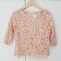 New Look Blush Pink Lace Top With Gold Buttons. Size 8. New Photo
