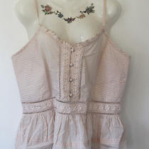 New Look Pale Blush Pink Strappy Summer Pleat Lace Cami Top - Boho Festival 16 Photo