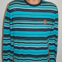 New Love Moschino Aqua Blue Stripe Mens Sweater Peace Sz M 54 Nwt Crewneck Photo