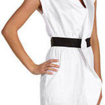 New Love Moschino White Cap Sleeve Dress With Ruffles (Size 6) - Msrp 420.00 Photo