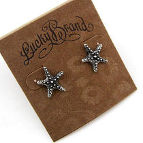 New Lucky Brand Retro Silver Tone Small Cute Starfish Ear Studs Earrings Photo