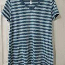 New Lularoe Christy T Tee Blue Stripes S Small Rare Striped Photo